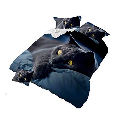 HOHAI 4 pezzi Dark Night Black Cat Set di biancheria da letto 3D Stampa Animali Set Copripiumino Matrimoniale Dimensioni Consolatore Copertura