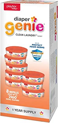 Diaper Genie Playtex Clean Laundry Refill Bags, Ideal for Diaper Pails, Registry Gift Set, Pack of 8, 2160Count by AmazonUs/Q05TB