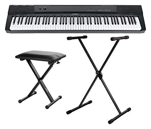 McGrey BS-88 Keyboard Set - Einsteiger-Keyboard in Stagepiano-Optik mit 88 Tasten - 146 Klänge - mit Sustain-Pedal - Spar-Set inklusive Ständer und Bank - schwarz