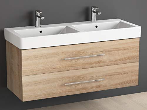 Aqua Bagno Badmeubel 120 cm incl. keramiek dubbele wastafel/badkamermeubel met dubbele wastafel en onderkast - 2 hoogwaardige softclose metalen uitschuifbare laden, Sonomo eiken