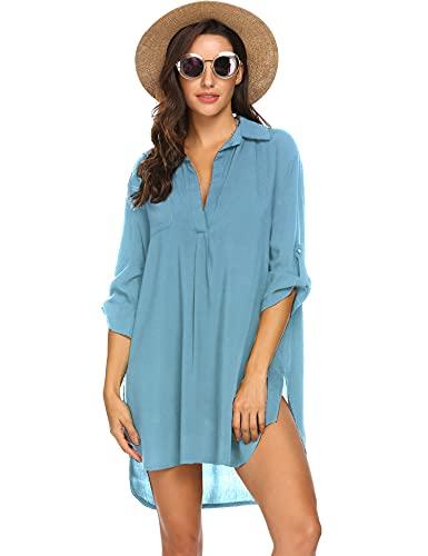 Ekouaer - traje de baño para la playa para mujer, para playa, bikini, traje de baño, vestido de playa, XL, A-negro