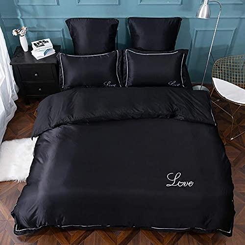 Conjunto de ropa de cama de cubierta de edredón, juego de ropa de cama Satén puro color de seda europeo bordado bordado colcha cubierta de colcha funda de almohada 4pcs romántico suave hogar textil pl