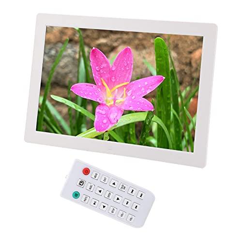 Ausla Marco de vídeo de alta definición, marco de fotos digital LED de 17 pulgadas, muy duradero para el hogar para el salón (blanco)