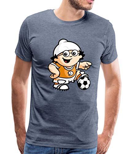 Mainzelmännchen Det Als Fußballer Männer Premium T-Shirt, L, Blau meliert