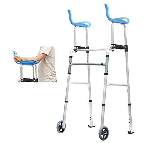 Andador para Ancianos Andador Plegable con Ruedas con Soporte para Brazos, Andadores Verticales de Pie Para Personas Mayores / Discapacitados / Movilidad Limitada, Altura Ajustable con Esquís Traseros