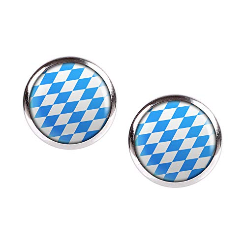 Mylery Ohrstecker Paar mit Motiv Bayern Oktober-Fest Blau Weiß Rauten silber 12mm