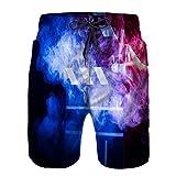 Hombres Playa Bañador Shorts,Claqueta para Cine en Blanco y Negro de Cerca Entre Rojo y Azul Multicolor,Traje de baño con Forro de Malla de Secado rápido S