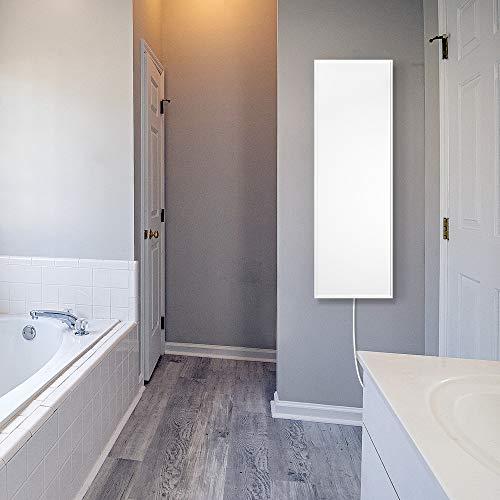 Pannello infrarossi per riscaldamento VCIR-300 pannello radiante ad infrarossi in alluminio anodizzato bianco con profilo 300 Watt Montabile in orizzontale o verticale a parete o soffitto Misure 30x90x2,5 cm
