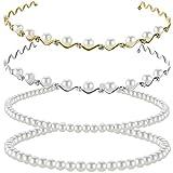 Pearls Headbands Faux Pearl Rhinestones Hairbands Bridal Hair Hoop Wedding Hair Accessories for Women Girls (Style Set 3)