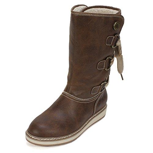 WHITE MOUNTAIN 'TIVIA' Women's Faux Fur Boot, Cognac - 8 M