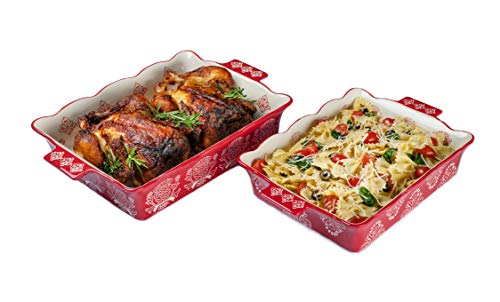 """Oven to Table Casserole Dish Set - 100% Stoneware Ceramic Baking Dishes for Cooking & Serving, Lasagna Pan Bakeware is Dishwasher & Microwave Safe - 12.75"""" x 10.5"""" & 10.75"""" x 9"""" Cookware Pans"""