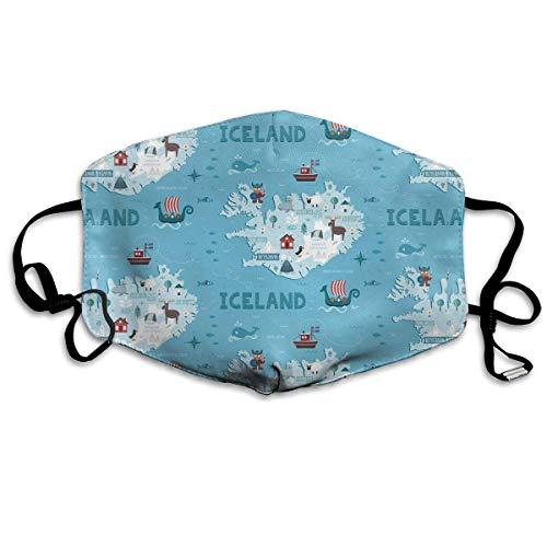 Iceland Map Face Cover Verstelbare Oorlussen Ademende Herbruikbare Outdoor Mond Cover Stofhoes voor Volwassenen Kids