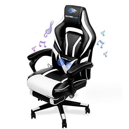 SOUTHERN WOLF Gaming Stuhl mit Fußstützen Bluetooth Lautsprecher, Gamingstuhl mit Massagefunktion, Racing Stuhl Bürostuhl Schreibtischstuhl Sportsitz mit Lendenkissen, bis 180kg belastbar