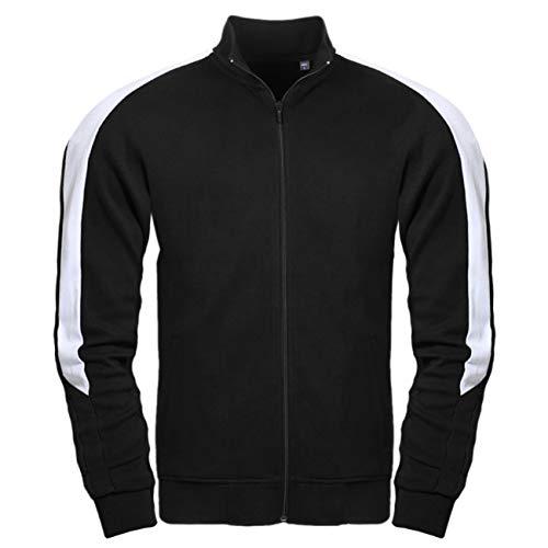 Spaß kostet Männer und Herren Trainingsjacke mit Streifen schwarz weiß M bis XXXL Unbedruckt
