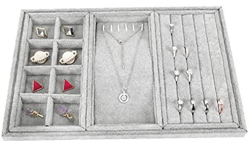 Tuimiyisou 3 Compartimentos (Gris), Ring - Caja De Almacenaje del Organizador Collar, Extraíble De Gran Capacidad De Terciopelo Bandeja De La Exhibición para El Pendiente