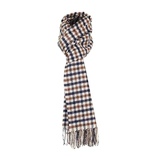 Aquascutum Herren Lambswool CC Checked Scarf, Braun, One Size
