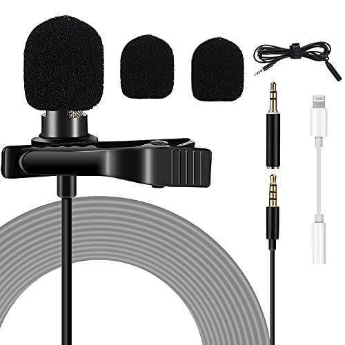 Czemo Microfono de Solapa Mini Micrófono de Solapa 3.5mm Omnidirectional Condensador con 2 adaptadores para Grabación Entrevista/Videoconferencia/Podcast /Dicción de Voz /Phone/DSLR Cámaras etc