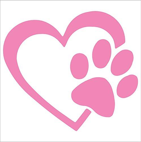 Herz mit Hundepfoten Puppy Love 10.16 cm, Farbe: SOFT PINK-Vinyl Decal Window Aufkleber für Autos, LKW, Fenster, Wände, Laptops und andere Dinge.