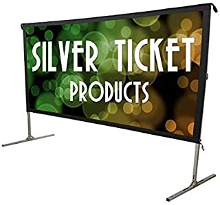 """STO-169225 Silver Ticket Indoor/Outdoor 225"""" Diagonal 16:9 4K Ultra HD Ready HDTV Movie Projector Screen Front Projection White Material with Black Back (STO 16:9, 225)"""