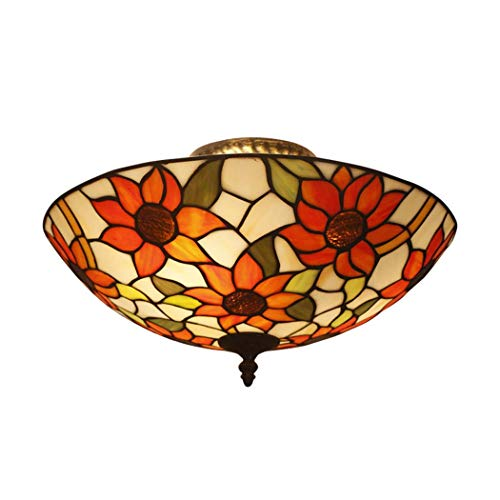 GGPUS Tiffany-Stil Retro-Deckenleuchte, robust, leicht zu reinigen, Buntglas, natürliche Eleganz, kreative dekorative Deckenleuchte, E27, 20Inch,Sunflower