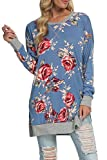 levaca Womens Long Sleeve Floral Loose Casual Tunic Tops for Leggings Blue L