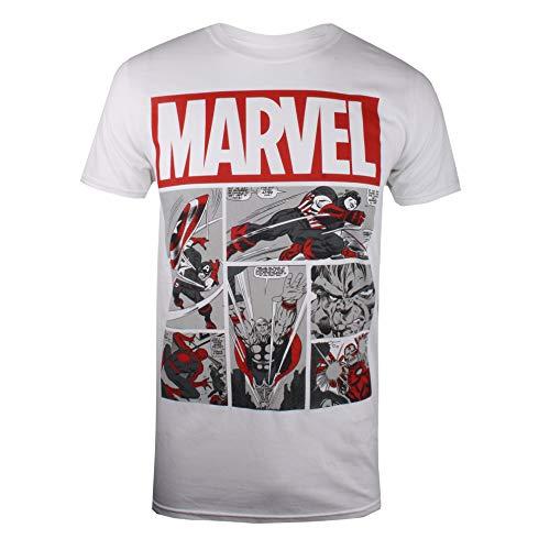 Marvel Heroes Comics Camiseta, Blanco (White White), Large (Talla del Fabricante: Large) para Hombre
