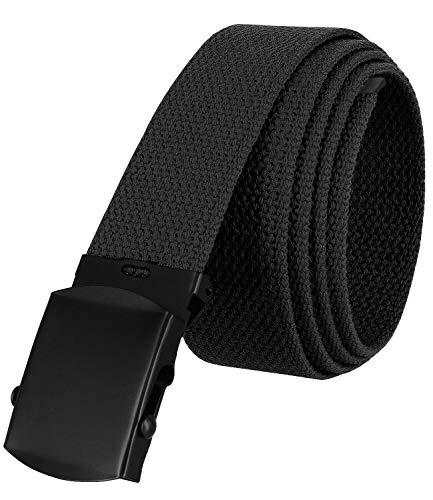 """Military Belt Canvas Belt Web Belt Non Leather Belt Black Buckle/Tip One Size fits all, 1-1/2"""" Wide (Black)"""