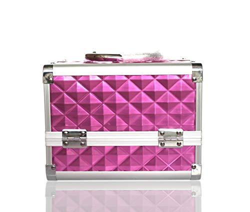POINSETTIA Alu Kosmetikkoffer Werkzeugkoffer Schminkkoffer Geschenk für Kinder 20,5x15,5x15,5cm Pinkpurple