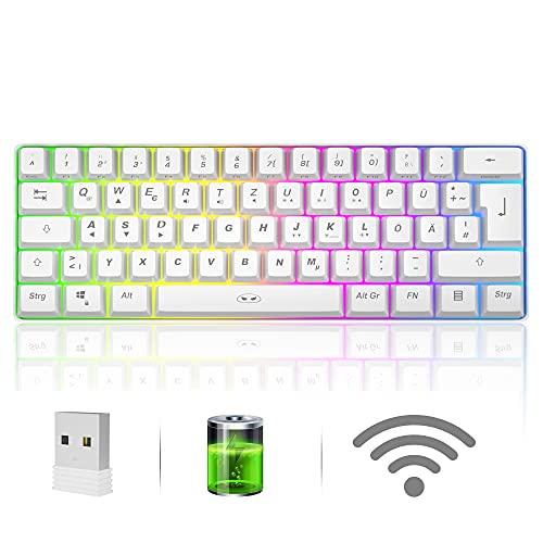 Kabellose 60{a9b53b8c61384a45c8f69e5007188ad079db30c5d12351f248bc099be0758a9b} Gaming-Tastatur QWERTZ-Layout, Kompakte wiederaufladbare 61-Tasten-Gaming-Tastatur mit RGB-Hintergrundbeleuchtung, 2,4-G-Wireless-Verbindung, wasserdichte tragbare Office-Tastatur-Weiß