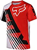 Maillot Ciclismo Hombre Camisetas De Manga Corta Bicicleta De Montaña/MTB Camiseta Transpirable Secado Rápido Ajuste Ceñido Correr Carreras Bicicleta Trajes Ropa (Rojo,3XL)
