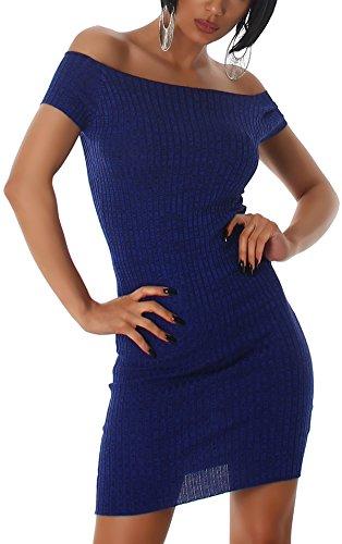 Jela London Carmen Stretchkleid Strickkleid dünn Midi Slim-Fit Streifen zweifarbig, Blau