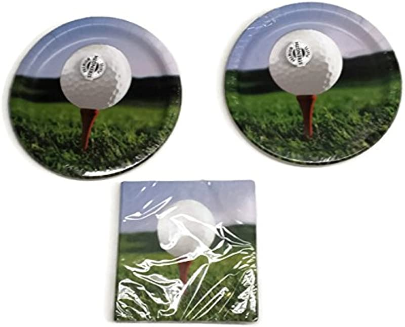 Sports Fanatic Golf Party Bundle 9 Plates 16 Lunch Napkins 18