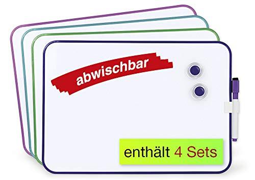 TimeTEX Set Gruppenarbeit-Whiteboard A4-Plus, 16-tlg - jedes Whiteboard mit abwischbarem Folienstift und 2 Magneten - 62198