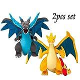 Panamat Movies & TV - 2pcs Anime Mega Evolution Charizard X & Y Plush Toys Action Figure Kids Kawaii Stuffed Animals Cute Doll Dragon Plushie for Boys 1 PCs
