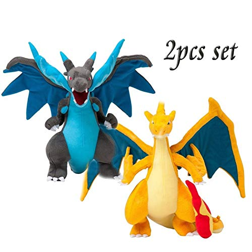 Panamat Movies & TV - 2pcs Anime Mega Evolution Charizard X & Y Plush Toys Action Figure Kids Kawaii Stuffed Animals Cute Doll Dragon Plushie for Boys 1 PCs
