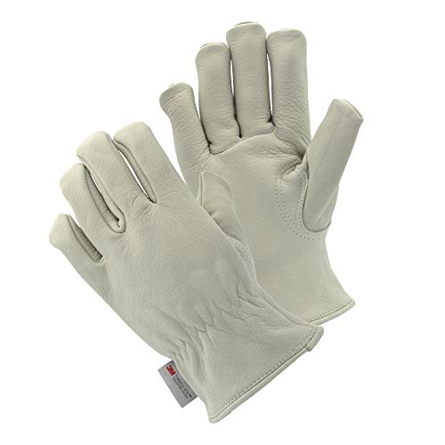 Cryogenic Gloves Waterproof LN2 Liquid Nitrogen Protectiove Gloves Cold Storage Frozen Safety Heavy Duty Construction Industrial Use Cowhide Leather Work Gloves Waterproof (No Lining,Medium)