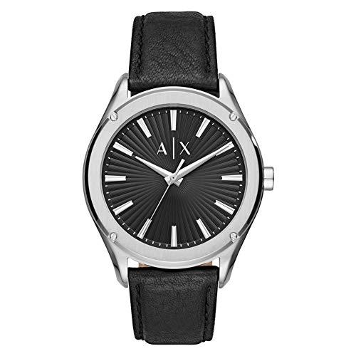 Armani Exchange Herren Analog Quarz Uhr mit Leder Armband AX2803