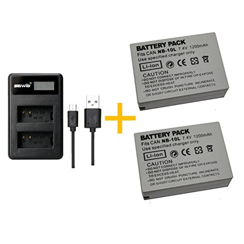 2 Piezas 1200 mAh NB-10L NB10L Batería con Cargador de batería para Canon NB-10L NB10L...