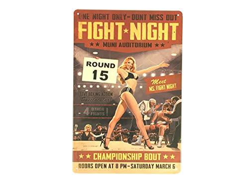 FEENOMENN Plaque Métal Déco Vintage - Ring Girl - Affiche Match de Boxe (20x30cm)