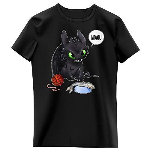 Okiwoki T-Shirt Enfant Fille Noir Parodie Dragons - Krokmou - Un Vrai Dragon Domestique. (T-Shirt Enfant de qualité Premium de Taille 7-8 Ans - imprimé en France)