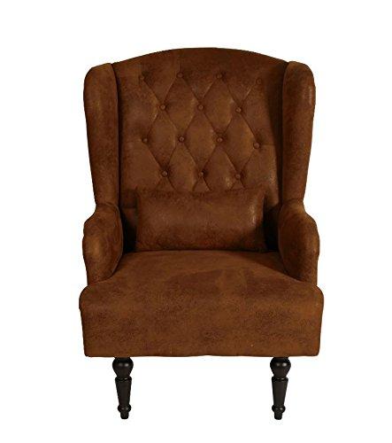 Vintage Sessel Wohnzimmer Relax Ohrensessel Wildlederoptik braun