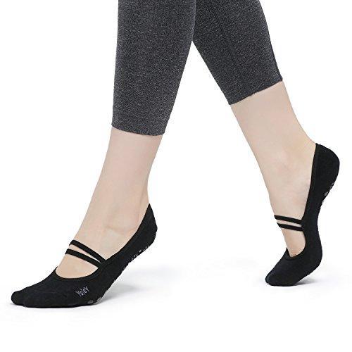 Yolev Yoga Pilates Socken mit Gummibänder und ABS Gummipunkte,Anti-rutsch für Damen(Größe:EU35-40)