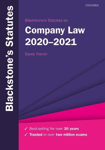 Blackstone's Statutes on Company Law 2020-2021 (Blackstone's Statute Series)
