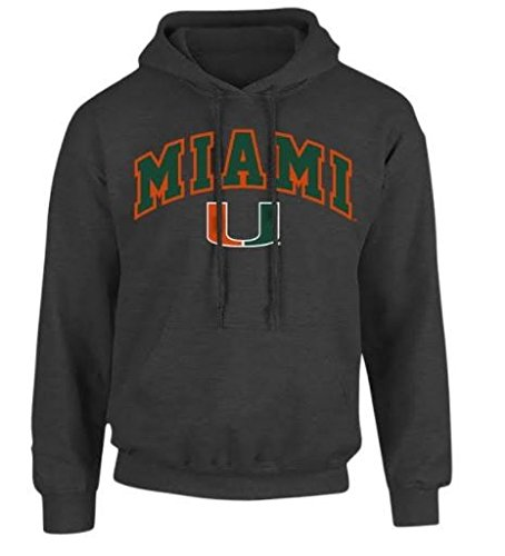 Elite Fan Shop NCAA Men's Miami Hurricanes Hoodie Sweatshirt Dark Heather Arch Miami Hurricanes Dark Heather Medium