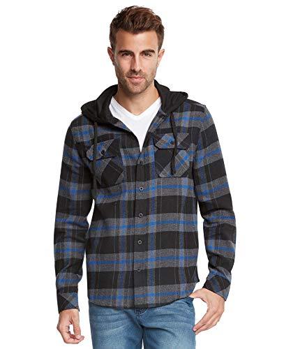 9 Crowns Men's Lightweight Hoodie Plaid Flannel Shirt-Black/Blue-XL