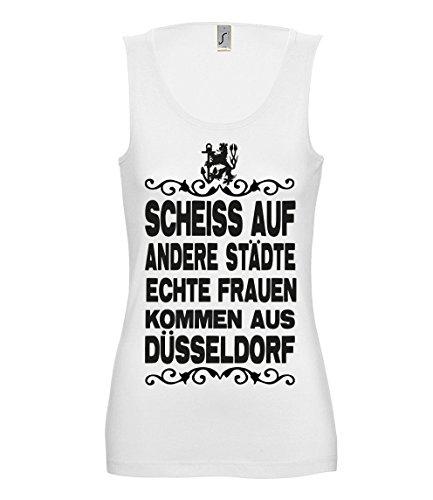 Artdiktat Damen Tank Top T-Shirt Scheiß auf Andere Städte - Echte Frauen Kommen aus Düsseldorf Größe XL, Weiß