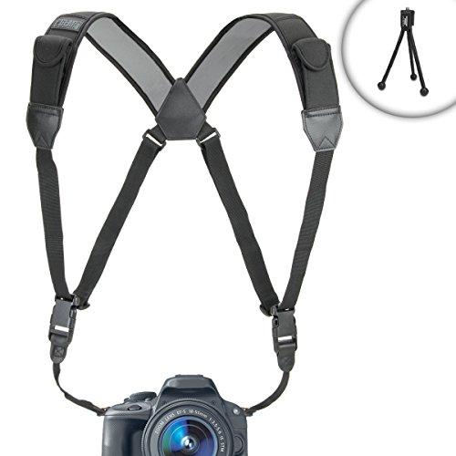 TrueSHOT Nikon DSLR Camera Harness Strap System with Adjustable Brackets for Nikon D610 , D7100 , D5200 , D600 / Coolpix L320 , L820 & more Nikon Digital SLR Cameras - Includes Mini Tripod.