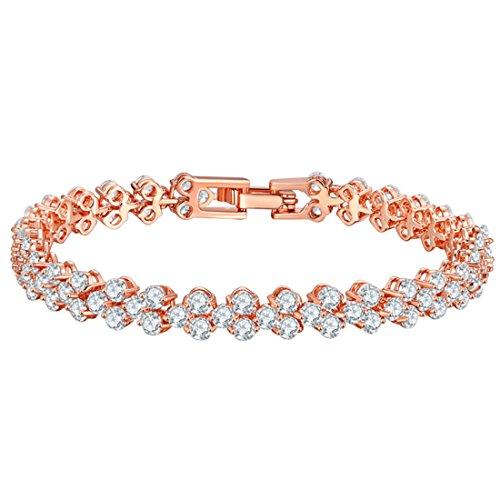 joyliveCY Pulseras de Diamantes de Cristal, San Valentín Pulsera de Cadena de Regalos de los Amantes de Oro Rosa