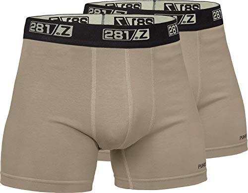 281Z Military Underwear Cotton 4-Inch Boxer Briefs - Tactical Hiking Outdoor - Punisher Combat Line (Medium, Tan (2 Pack))