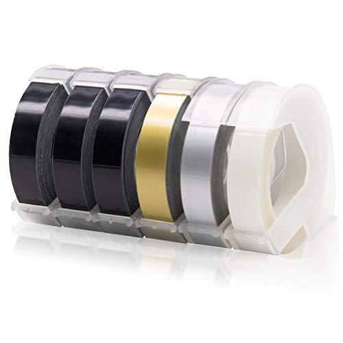 6x Labelwell 9mm Kompatibel 3D Prägeband Ersatz für Dymo Vinyl-Prägeetiketten Selbstklebend für Dymo Omega Etikettenprägegerät Junior Prägegerät Motex E-303 E-101, Schwarz/Gold/Silber/Transparent